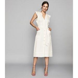 NWT Reiss Enid Button Through Linen Midi Dress